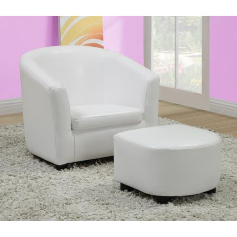 White Leather-Look Juvenile Chair / Ottoman Set