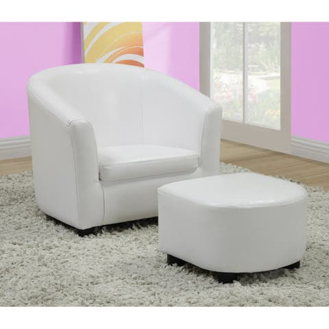 White Leather-Look Juvenile Chair / Ottoman Set
