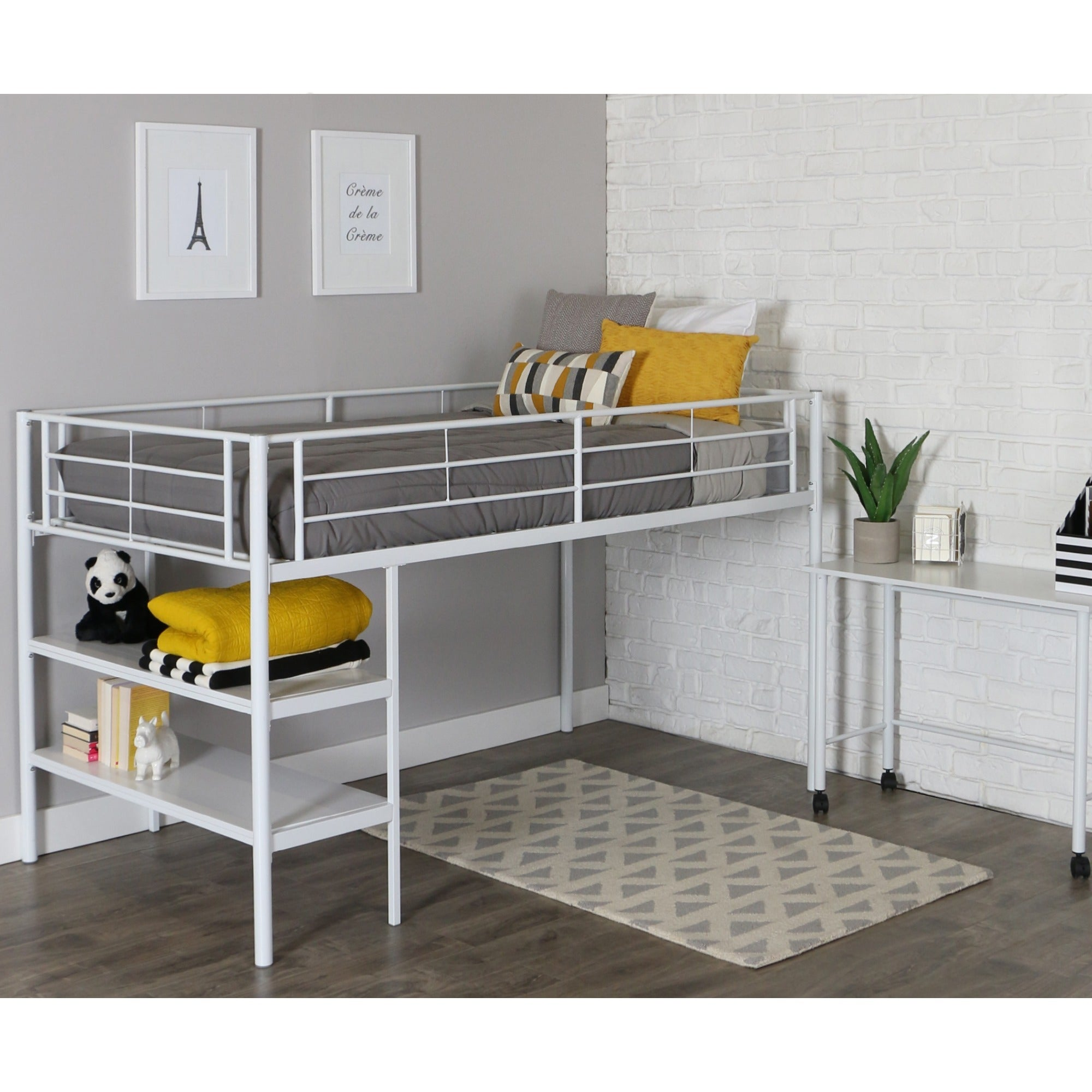 Walker Edison White Twin Loft Bed With Desk and Shelves (...