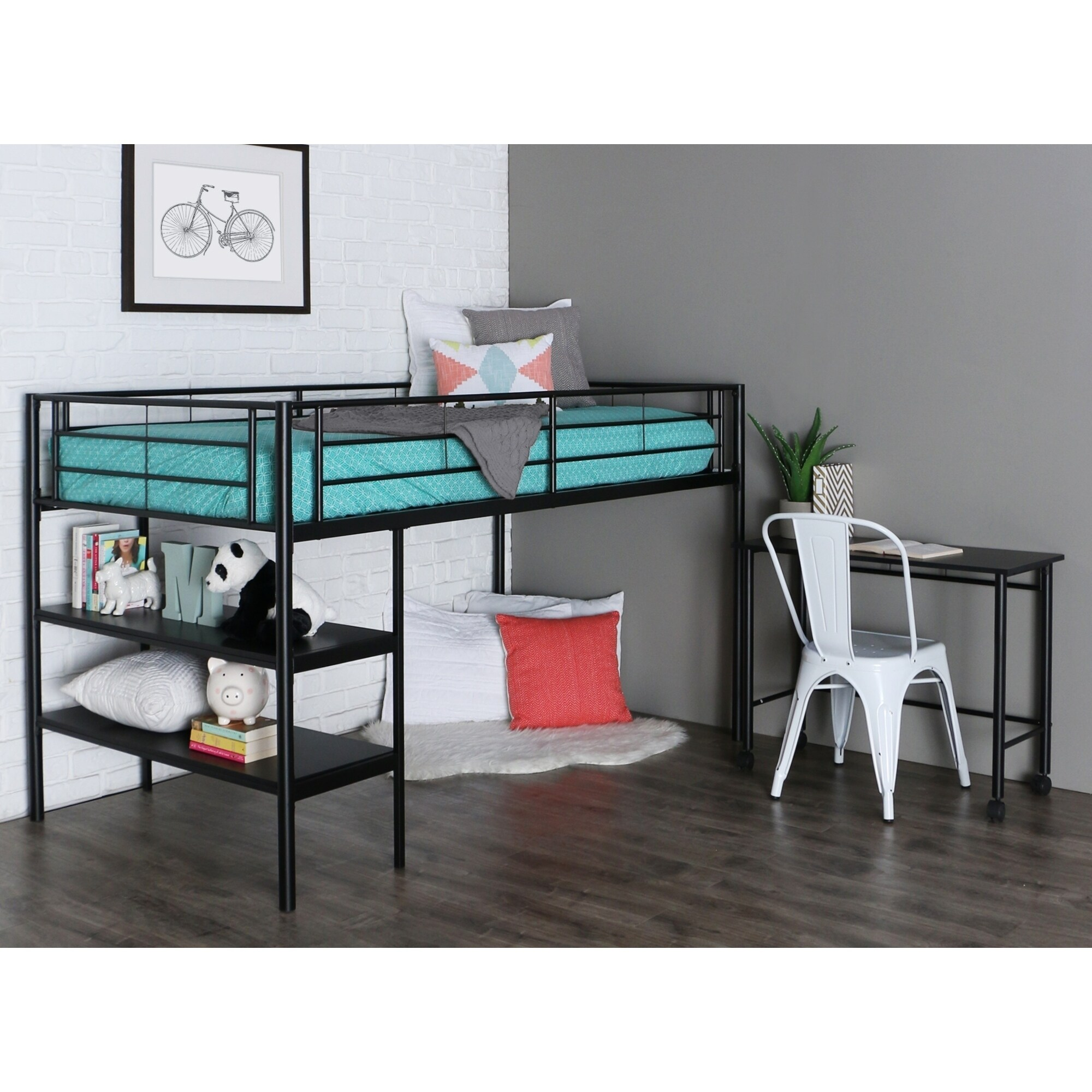 Walker Edison Black Twin Low Loft Bed with Desk and Shelv...