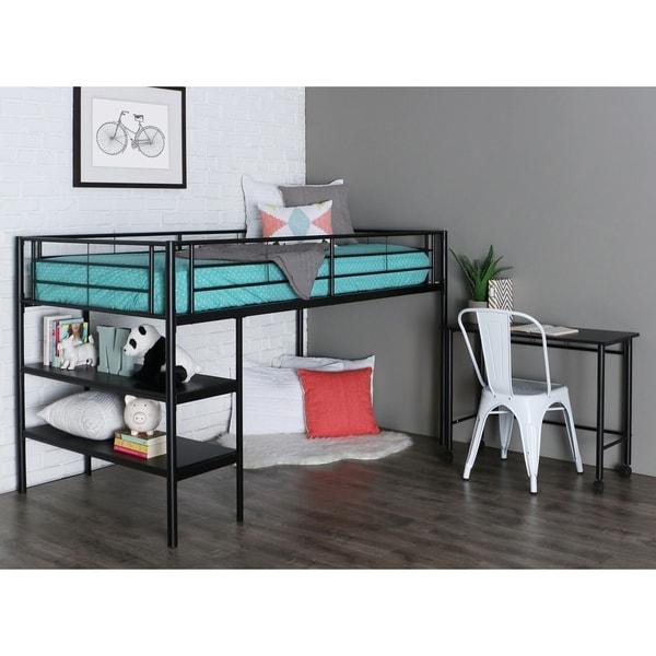 Premium Twin Low Loft Bed with Desk/ Shelves - Black