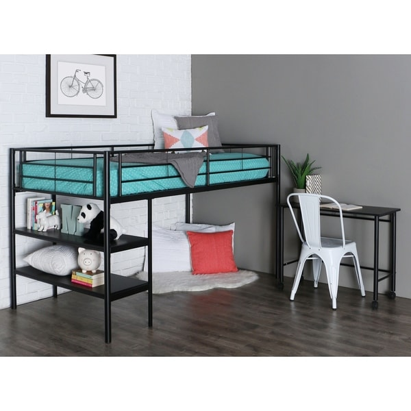 Premium Twin Low Loft Bed with Desk and Shelves - Black