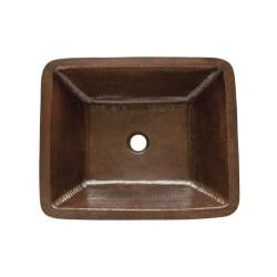 Premier Copper Products Rectangle Under Counter Hammered Copper Bathroom Sink Thumbnail 1