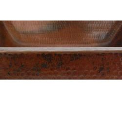 Premier Copper Products Rectangle Skirted Vessel Hammered Copper Sink