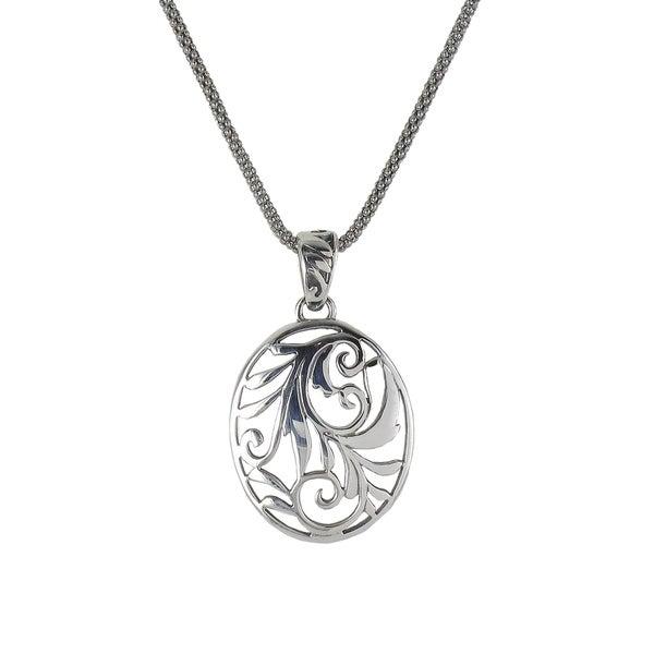 Sunstone Sterling Silver Filigree Oval Pendant Necklace