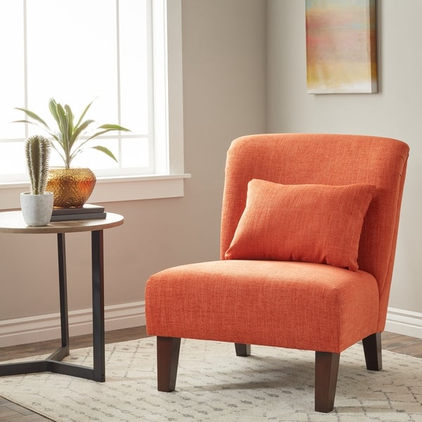 shop clay alder home anna fiesta orange accent chair on sale