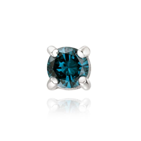 DB Designs Sterling Silver 1/4ct TDW Blue Diamond Single Stud Earring