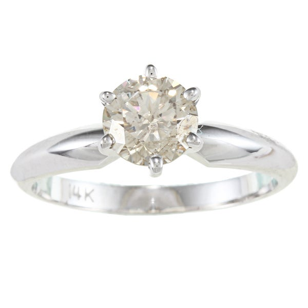 Victoria Kay 14k Gold 1ct TDW Certified 6-Prong Diamond Solitaire Ring (I-J, SI2-SI3)