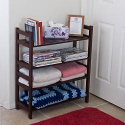 Four-Tier Solid Mahogany Wood Media Shoe Rack Bookshelf