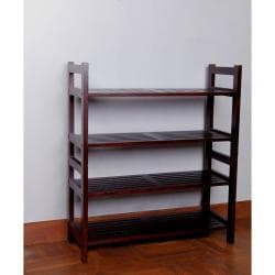 Four-Tier Solid Mahogany Wood Media Shoe Rack Bookshelf - Thumbnail 2