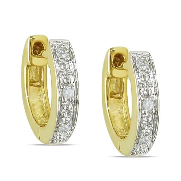 14k Yellow Gold Diamond Accent Cuff Earrings