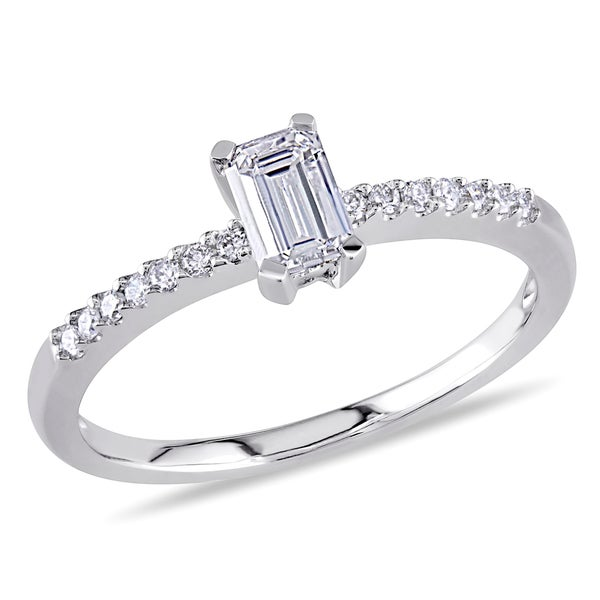 Miadora 14k White Gold 1/2ct TDW Emerald Cut Diamond Ring (G-H, I1-I2)