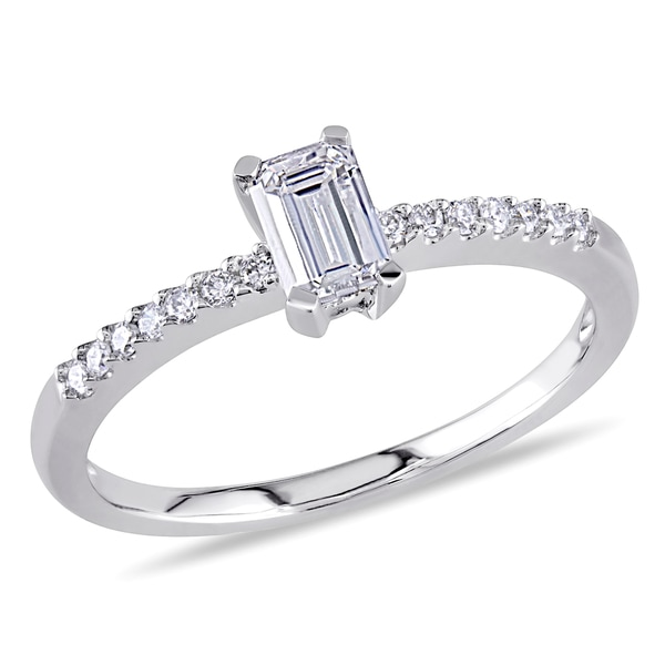 Miadora 14k White Gold 1/2ct TDW Emerald Cut Diamond Ring