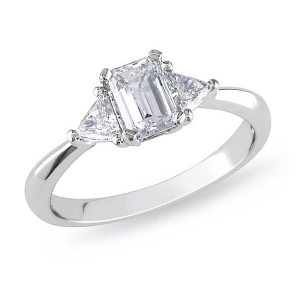 Miadora Platinum 1ct TDW Emerald Cut Diamond Ring (G-H, I1-I2)