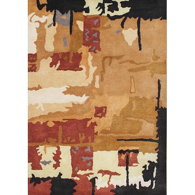 Alliyah Handmade Orange Water Color New Zealand Blend Wool Rug (8' x 10')