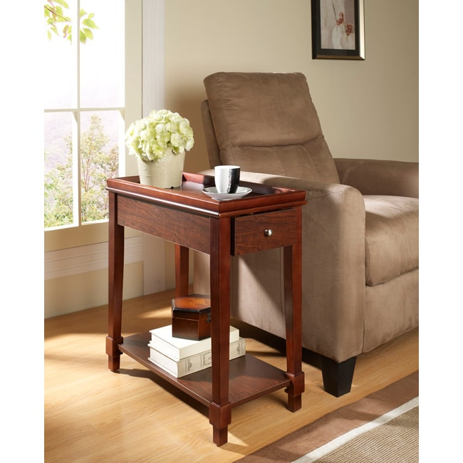 Espresso Wooden Chair Side End Table With Drawer