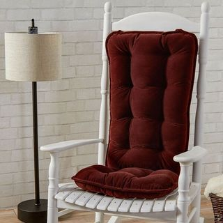 Wine Ribbed Microfiber Jumbo Rocking Chair Cushion Set