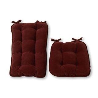 Wine Ribbed Microfiber Jumbo Rocking Chair Cushion Set
