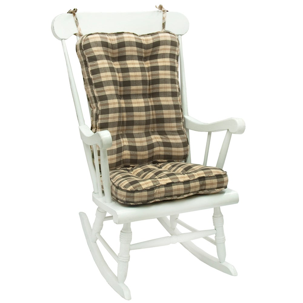 Olive Plaid Standard Rocking Chair Cushion
