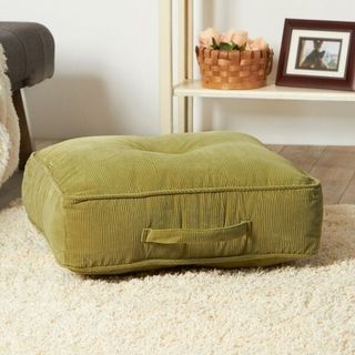 Ribbed Microfiber 20-inch Olive Square Floor Pillow