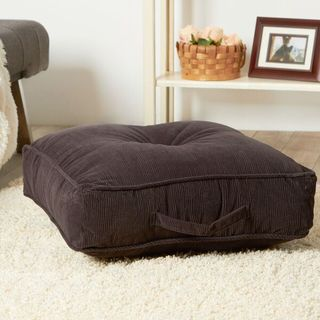 Ribbed Microfiber 20-inch Charcoal Square Floor Pillow