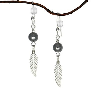 Jewelry by Dawn Hematite With Feather Sterling Silver Earrings