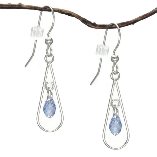 Jewelry by Dawn Open Teardrop Blue Crystal Sterling Silver Earrings