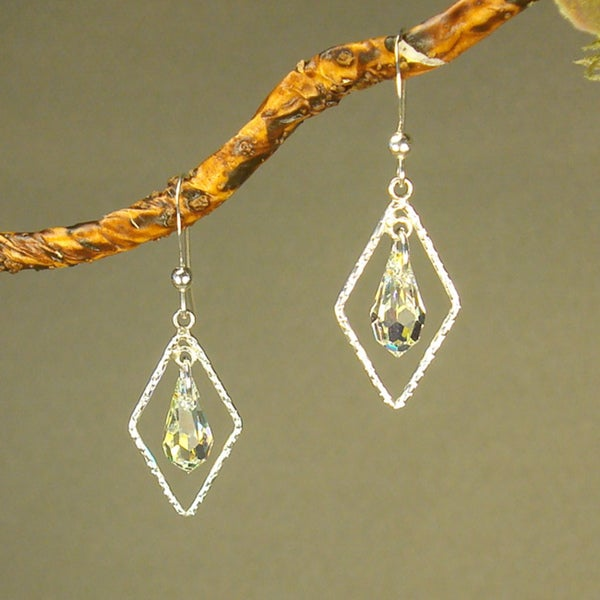 Jewelry by Dawn Textured Drops With Crystal AB Sterling Silver Earrings