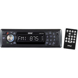 Pyle Bluetooth Marine Stereo Radio Waterproof Weather proof Single DIN 12v Boat Receiver with Digital LCD RCA MP3 USB Reader