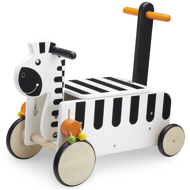 Wonderworld Toys Rubberwood Ride On Zebra with Clacking Sounds