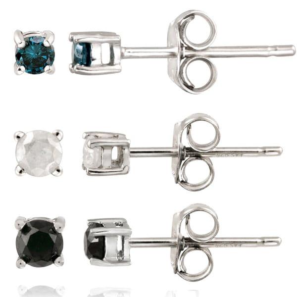 DB Designs Sterling Silver 3/8ct TDW Diamond Stud Earrings (Set of 3)