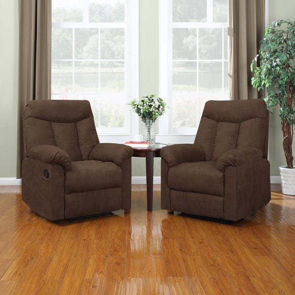 ProLounger Wall Hugger Dark Brown Microfiber Recliners (Set of 2)