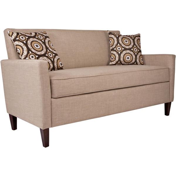 Handy Living Sutton Sandstone Khaki Brown Twill Sofa Free Shipping Today