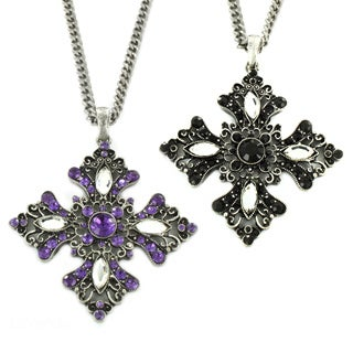 Silvertone Black or Lavender Acrylic Stone Euro Cross Necklace