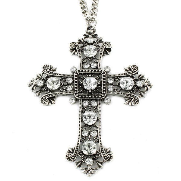 West Coast Jewelry Silvertone Blue, Violet or Clear Acrylic Stone Euro Cross Necklace