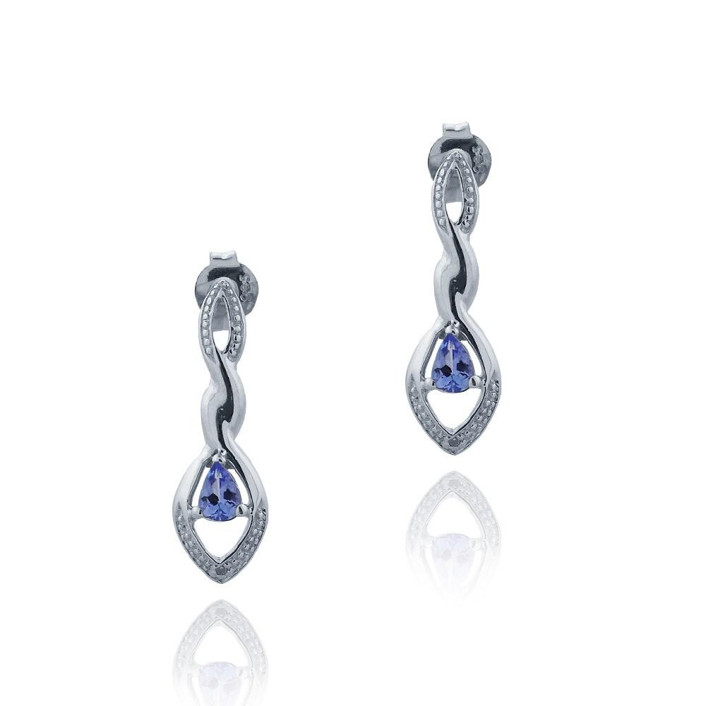 Glitzy Rocks Silver Tanzanite and Diamond Accent Infinity Earrings