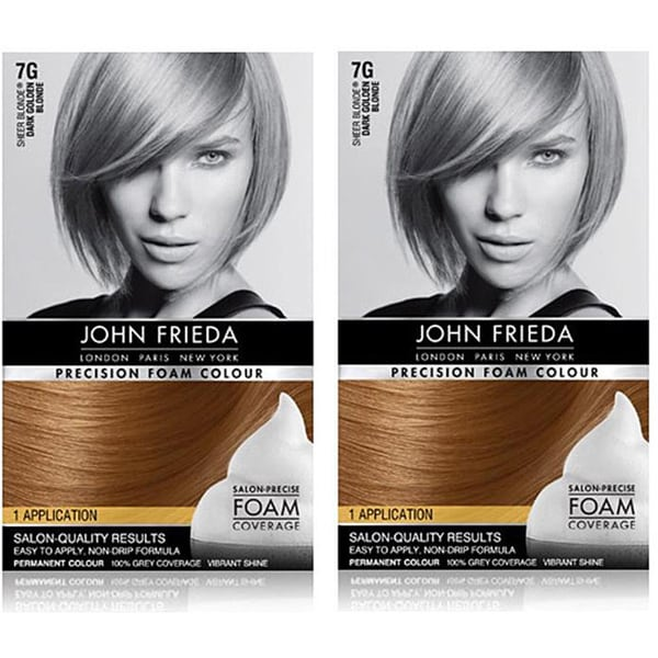 John Frieda Precision Foam Colour 7G Dark Golden Blonde Hair Color (Pack of 4)