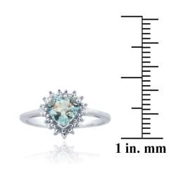 Glitzy Rocks Sterling Silver Blue Topaz and Diamond Accent Heart Ring - Thumbnail 2