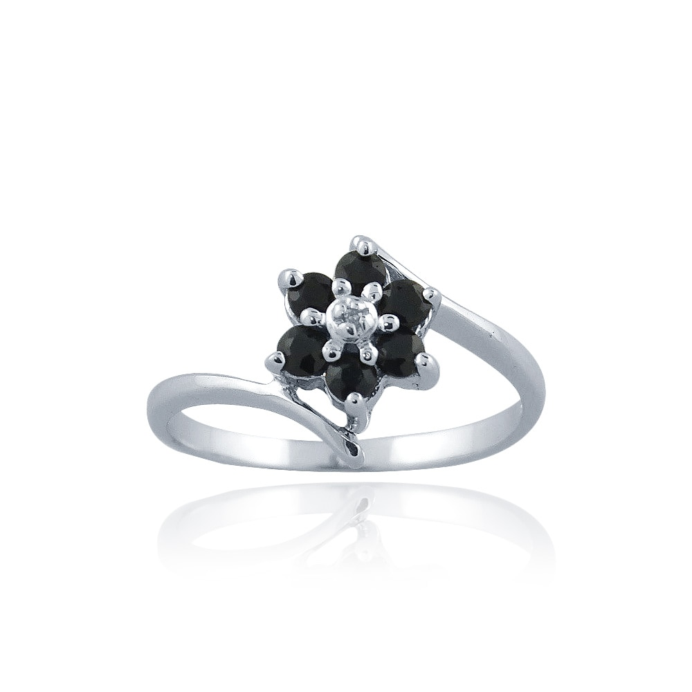 Glitzy Rocks Sterling Silver Sapphire and Diamond Accent Flower Ring