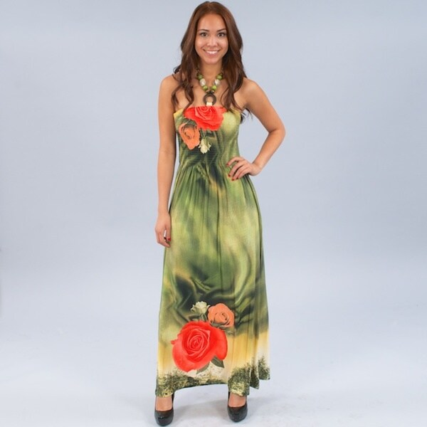 Meetu Magic Women's Beaded Halter Floral Print Maxi Dress