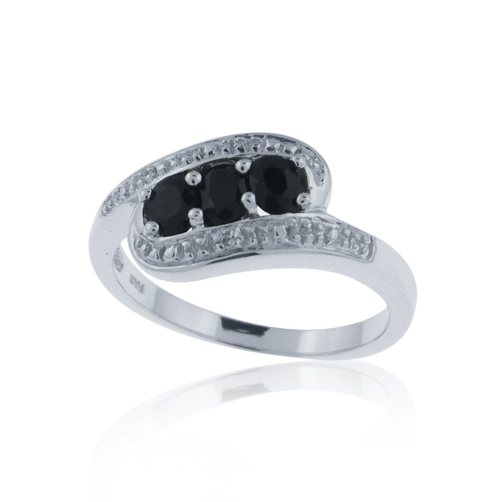 Glitzy Rocks Sterling Silver Black Oval Sapphire and Diamond Accent Ring