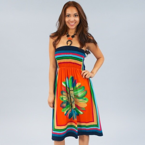 Meetu Magic Women's Floral Print Stretch Halter Dress