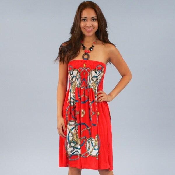Meetu Magic Women's Coral Designer-inspired Beaded Halter Dress