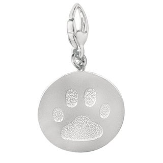 Sterling Silver Recessed Paw Print Large Version Charm