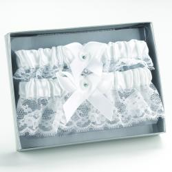 White Heart Keep/ Throw Garter Set