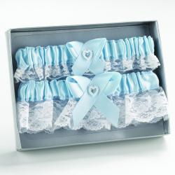 Blue Heart Keep/ Throw Garter Set