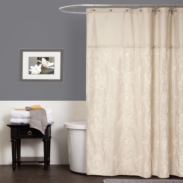 Lush Decor Jenna Beige Shower Curtain