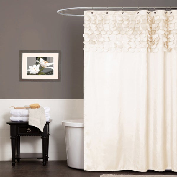 Lush Decor Lillian Beige Shower Curtain - 14351688 - Overstock.com ...