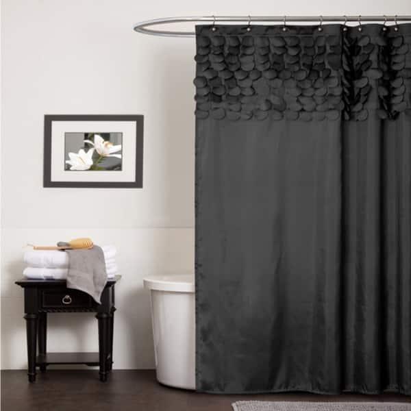 Lush Decor Lillian Black Shower Curtain