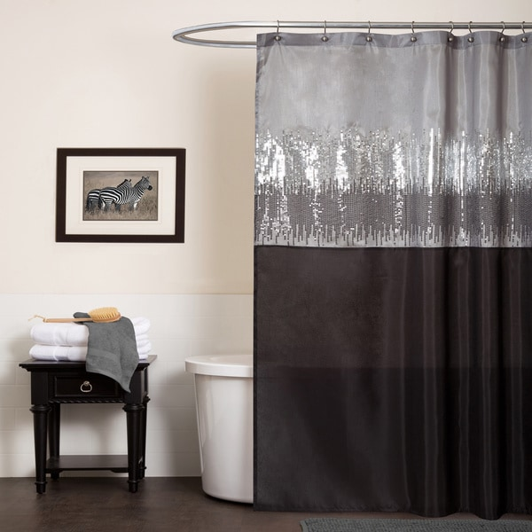 Lush Decor Night Sky Black Grey Shower Curtain